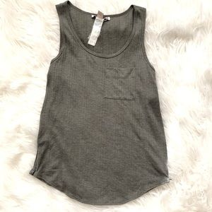 Green tank top with zipper sides
